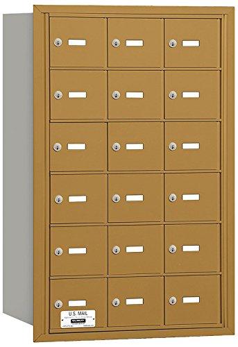 Salsbury Industries 3618GRU 4B Plus Horizontal Mailbox, 18 A Doors, Rear Loading, USPS Access, Gold