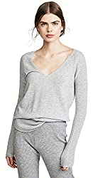 M Patmos Women S Hutton Shirttail Cashmere Sweater Grey Heather X Small