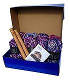 Large Chunky Throw Blanket DIY Knit Kit, Super Soft Thick Yarn w/Large Wood Knitting Needles US 50 Set (Pink & Purple Marled)
