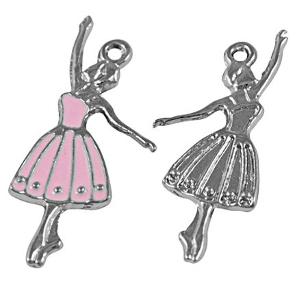 Enamel Ballerina Charm (50 pcs Alloy Enamel Pendants, Lead Free and Cadmium Free, Ballerina, Platinum Color, Pink, about 32mm long, 13mm wide, 2mm thick, hole: 1.5mm, dance pendant charm tone Designer teens girls)