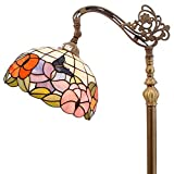 Tiffany Style Reading Floor Lamp Butterfly Design Cream Stained Glass Lampshade in 64 Inch Tall Antique Arched Base for Bedroom Living Room Lighting Table Set S074 WERFACTORY