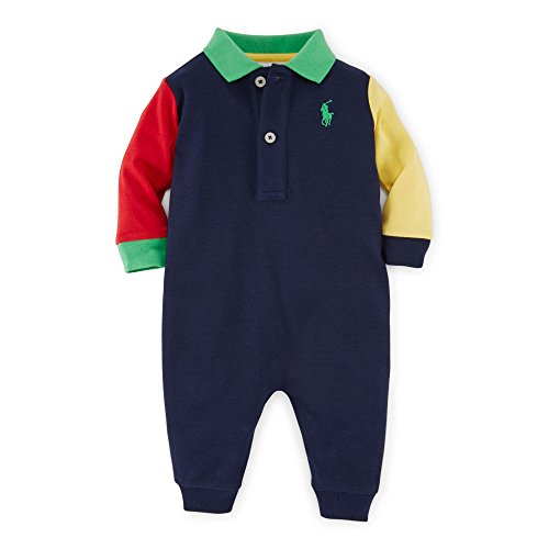 Ralph Lauren Baby Boy COLOR-BLOCK COTTON Long SHORTALL3M Navy - Ralph Lauren Polo Shirts Kids