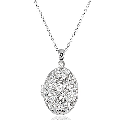 - Sterling Silver Polished Diamond-Cut Oval Filigree Picture Locket Necklace