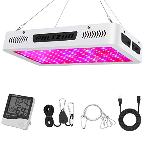 $129.99 indoor grow tent cheap Phlizon Newest 1200W High Power Series Plant LED Grow Light,with Thermometer Humidity Monitor,with Adjustable Rope,Double Chips Full Spectrum Grow Lamp for Indoor Plant 2019