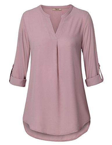 Timeson Tunic Blouses, Womens Chiffon Long Sleeve V Neck Solid Color Pleated Front Curved Hem Casual Shirt Tops Dark Pink L