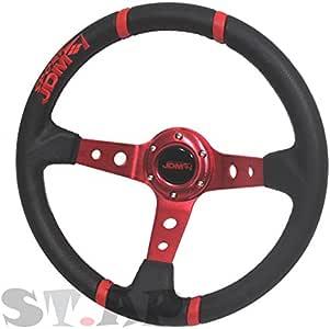Red 350mm Deep Dish 6 Bolt Steering Wheel Universal Custom