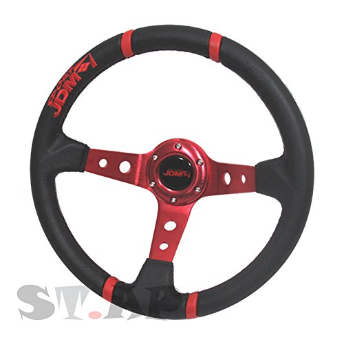 350mm Deep Dish Steering Wheel 6 Bolt Universal Custom (Red Center JDM 4 Ring)