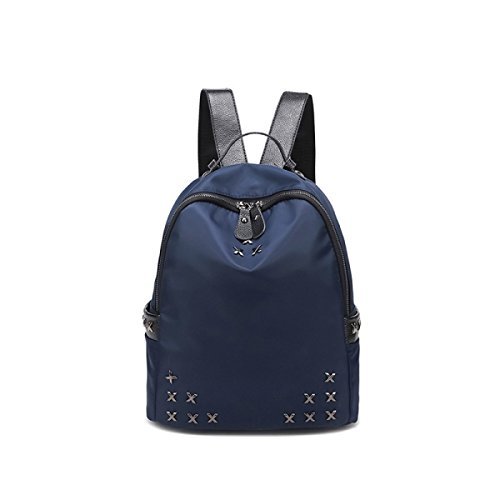 red Oxford Backpack College Rivet Fashion Wild Handbags Cloth Full Blue Girls Waterproof 7wTvnvq4A