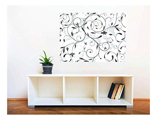 Removable Wall Sticker Wall Mural Seamless Floral Pattern Creative Window View Wall Decor