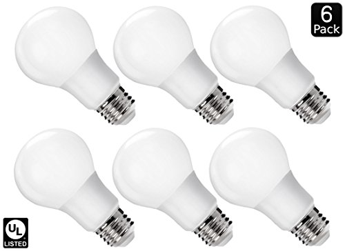 Luxrite LR21393 (6-Pack) 9W LED A19 Light Bulb, 60W Equivalent, Non-Dimmable, Cool White 4000K, 800 Lumens, E26 Base, UL-Listed