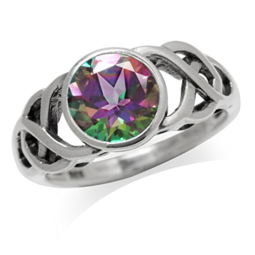 Silvershake 2.16ct. Mystic Fire Topaz 925 Sterling Silver Celtic Knot Solitaire Ring