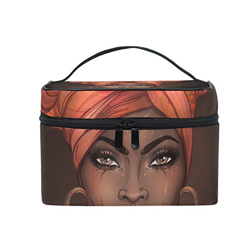 Cosmetic Bag Makeup toiletry Bag African American Woman Travel Case Organizer for Women