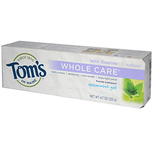 Tom's of Maine, Whole Care Fluoride Toothpaste, Spearmint Gel, 4.7 oz (133 g)(pack of - Care Toothpaste Spearmint Whole