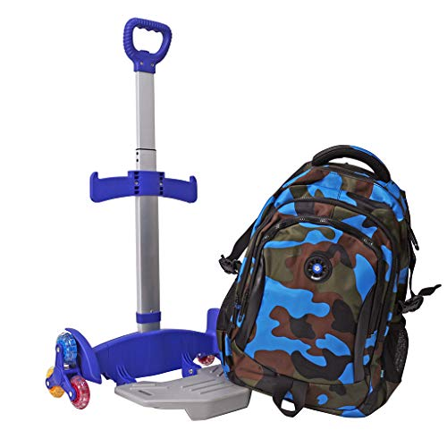 - Wheeled Backpack Cart,Aluminium Alloy Folding Trolley Cart for Backpack (Blue, 6 Wheels)