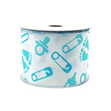 """Homeford FJT098234004 Baby Shower Items Polyester Wired 10 yd Ribbon, 2-1/2"""", Light Blue"""