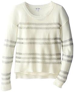 Splendid Big Girls' Long Sleeve Striped Sweater, Off White, 10