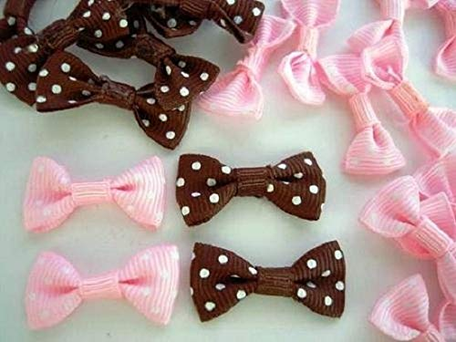 Ribbon Art Craft Decoration 40 Pink & Brown Grosgrain Polka Dot Ribbon Bow Tie Applique/Craft/Trim/Sew F54