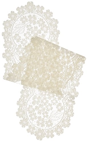 (Heritage Lace Dogwood Runner, 14 by 53-Inch, Ecru)