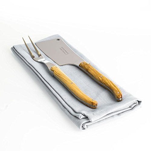 Win Handcrafted Stainless Steel Laguiole 2pc French Cheese Knife And Fork Set reviews