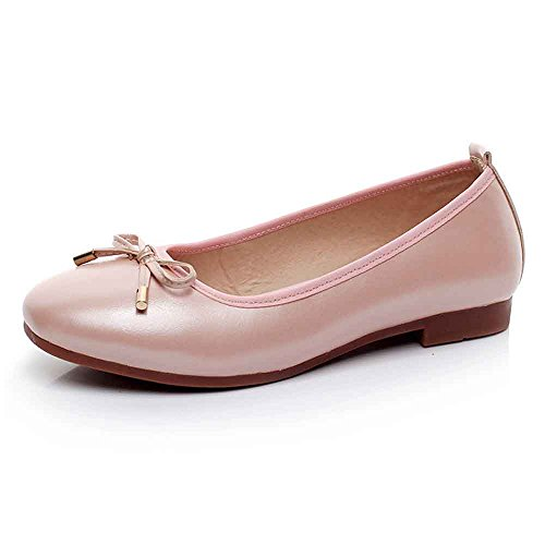 Loafers Flats Bow Women Pregnant Pink Non 43 Boat Casual 40 Driving Ballerina Slip Flat Ballet Round Size LIURUIJIA Shoes Soft Big Large gIv1qw6It