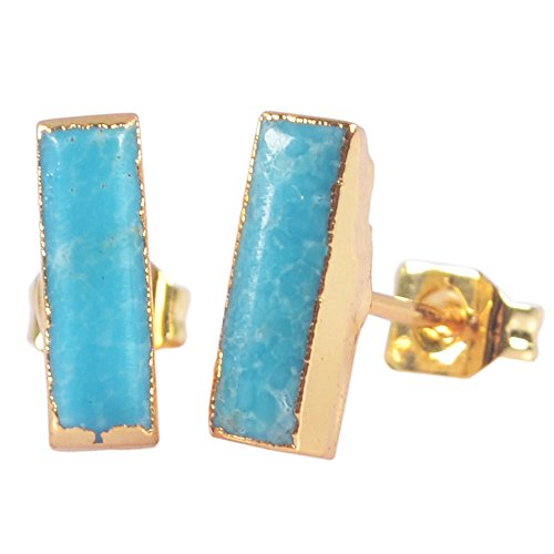 ZENGORI 1 Pair Gold Plated Natural Turquoise Tiny Rectangle Bar Stud Earrings G1274