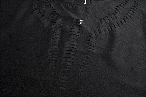 Fortuning's JDS Zapatos de los zapatos de las sandalias de la correa de la T de las mujeres de la flor de la manera Negro