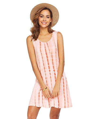 FineFolk Women's Tie Dye Ombre Sleeveless Casual Loose T-Shirt Dress Swing Tunic Top