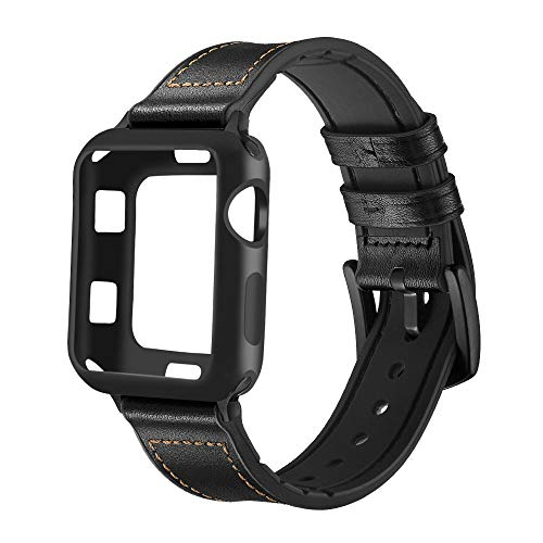 (Maxjoy Compatible Apple Watch Band 42mm, Hybrid Sports Bands Vintage Leather Sweatproof Replacement Strap with Silicone Protective Case for iWatch Series 3/2/1 Nike+ Sport Edition Men Black)