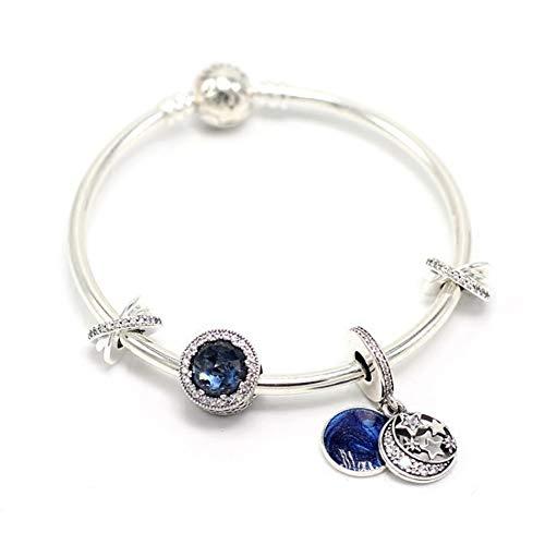 LOVEMLQL S925 Simple Silver Beaded DIY Bracelet Bracelet Snake Bone Chain Star Fairy Fairy Star Set with Gift Box