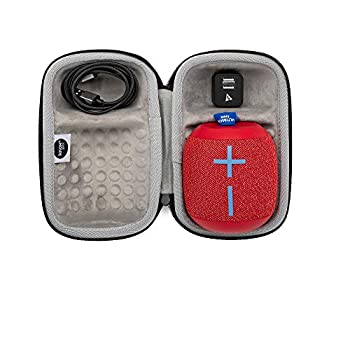 Image of Case Hardware & Latches Ultimate Ears WONDERBOOM 2 Portable Waterproof Bluetooth Speaker (Radical Red) with Knox Gear Padded Protective Case, 6 ft. Cable and Wall Plug(4 Items)