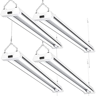Sunco Lighting 4 Pack LED Utility Shop Light, 4 FT, 40W=230W, 5000K Daylight, Frosted, Linkable, Integrated LED, Surface or Suspension, Mounting Equipment Included - ETL + Energy Star