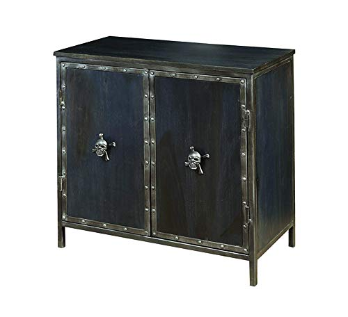 Furniture Industrial Metal and Wood 2 Door Accent Chest with Skull Hardware, 28