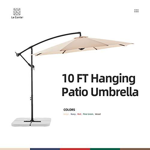 Le conte 10ft Patio Offset Umbrella Cantilever Umbrella Hanging Market Umbrella Outdoor Umbrellas with Crank  Cross Base(Beige)