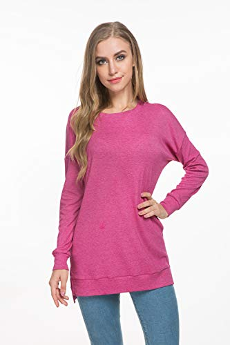 VOBCTY Womens Long Sleeve High Low Loose T-Shirt with Side Split,Casual Pullover Tunic Tops T-Shirt