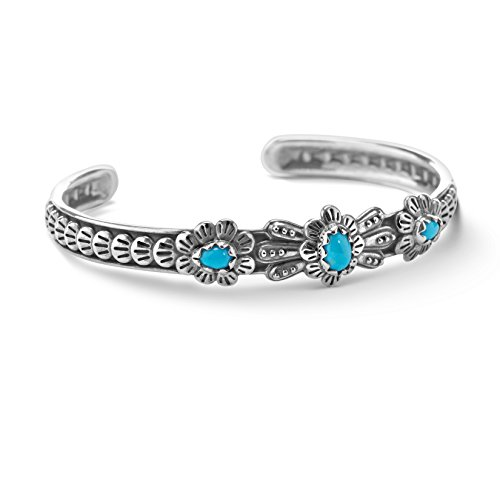 American West Sterling Silver Sleeping Beauty Turquoise Bracelet- Average - AW Sleeping Beauty Collection -