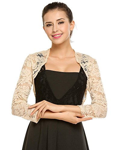- Zeagoo Women's 3 4 Sleeve Bolero Shrugs Crochet Lace Open Cardigan Nude XXL