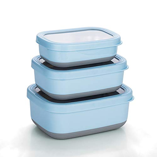 Lille Home Premium Stainless Steel Food Containers/Bento Lunch Box With Non-Slip Exterior | Set of 3, 470ml, 900ml,1.4L | Leakproof | BPA Free | Portion Control