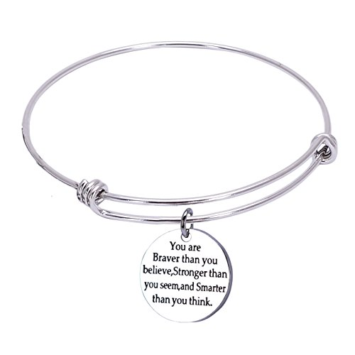 Inspirational Quotes Carved Bracelets You Are Braver Than You Believe Stronger Smarter Than You Think Stainless Steel Jewelry Adjustable Bangle Bracelets for Women