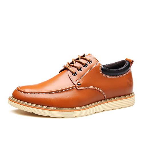 WFL Scarpe da uomo scarpe estive da uomo con la suola spessa scarpe casual scarpe stringate in pelle da uomo Giallo