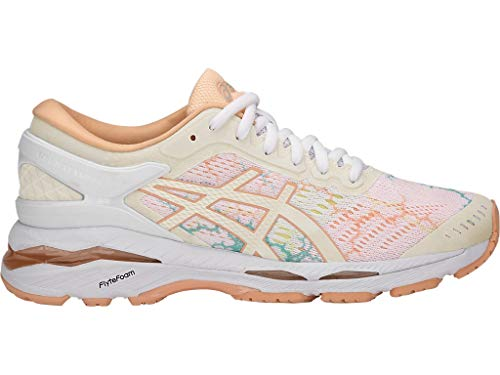 ASICS Women's Gel-Kayano 24 Lite-Show Running Shoes, 8.5M, White/White/Apricot ICE