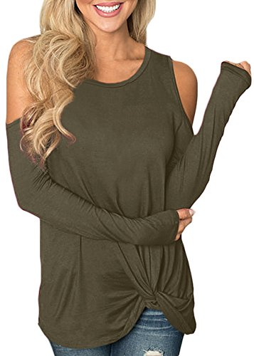 Women Long Sleeve Casual Tops Solid Color Knot Twist Front Cold Shoulder Shirts Olive S ()