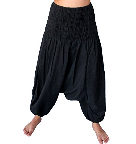 Full Funk Light Plain Rayon Viscose Smock Harem Baggy Mao Pants, X-Large, Black]()