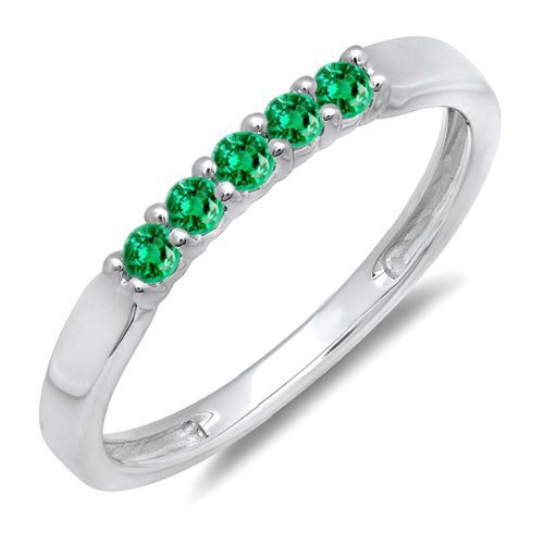 DazzlingRock Collection 0.25 Carat (ctw) 10K White Gold Round Green Emerald 5 Stone Ladies Wedding Band 1/4 CT (Size (Emerald Wedding Band)