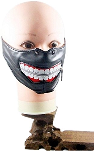 Qiu ping Men's and women's new ghouls premium PU leather rock punk face mask by Qiu ping