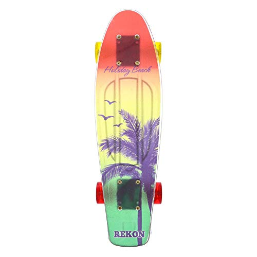 (Mozlly Skateboard Cruiser with Smooth High Speed Wheels, Fully Assembled Grip Deck and Metal Trucks Fun Skating Outdoor Activity Training Equipment for Boys Girls Men 22.5 x 6 inch - Palm Trees Birds)