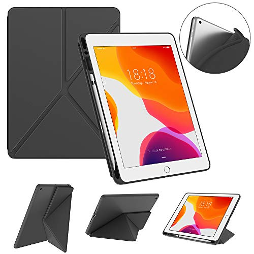 DTTO New iPad 7th Generation Case with Pencil Holder, iPad 10.2 2019 Case, Multiple View Angle Stand Cover Case with Soft TPU Back for iPad 10.2 2019 [Auto Sleep/Wake], Gray