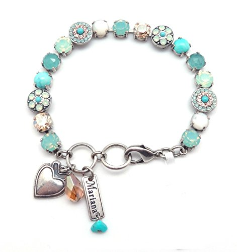 MARIANA M1042 Summer Palace Aqua & Pacific Blue Swarovski Crystal Silver Plated Bracelet by Mariana