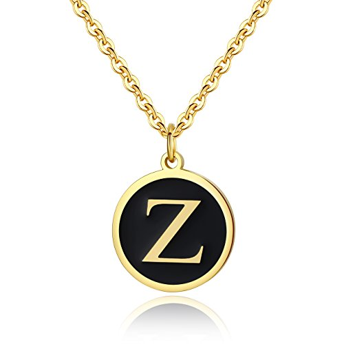REVEMCN Stainless Steel Alphabet and Bible Verse Proverbs 4:23 Pendant Necklace for Men Women with Keyring and 22'' Chain (Gold-Tone: Z) -