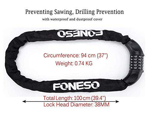 Bike Lock, Foneso 5mm-Thick 5-Digit Resetable Combination Bicycle Chain Lock Bike Cycling Accessories, Heavy Duty Anti-Theft No Keys Required, 35-Inch