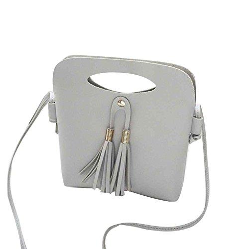 Sac d'épaule Tassel femmes Fille de couleur unie bandoulière unique sac à main Boucle PU magnétique Bucket Casual Tote Sacs Messenger Mengonee Gris